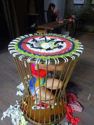 weaving into a cage,  Munan Ancestral temple of the Jian family, OPEN international performance art festival