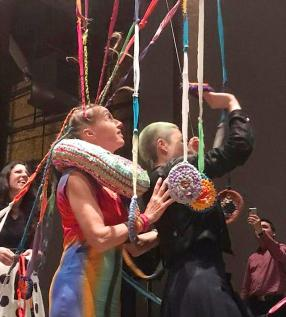 Smack Mellon, installative Performance, Joy of Weaving, Interaction, Itinernat Festival, May 2019, NYC